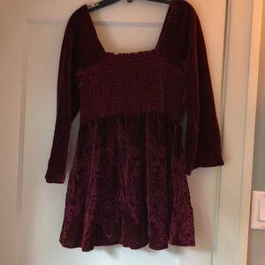 Velvet babydoll - burgundy